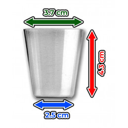 Set of 20 stainless steel cups, 30 ml