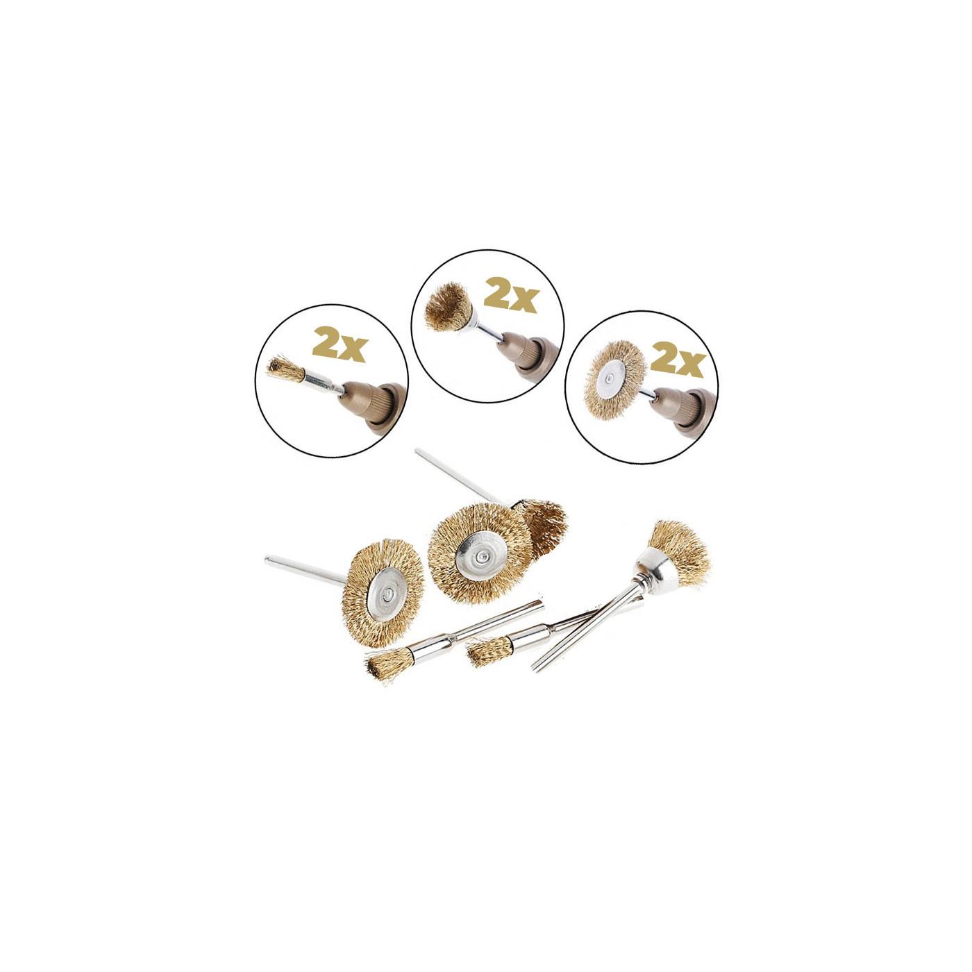 Zestaw mini szczotek drucianych (6 szt., Mosiądz, do narzędzi wielofunkcyjnych)  - 1
