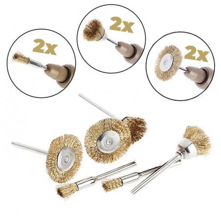 Set mini Metalldrahtbürsten (6 Stück, Messing, für Multitools)