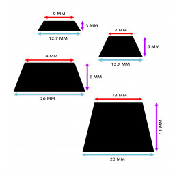 Set of 100 door buffers (20x20x8 mm, black, trapezoid)