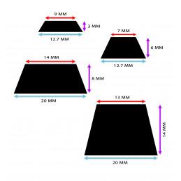 Set van 100 stootdopjes (12.7x12.7x3 mm, zwart, trapezium)