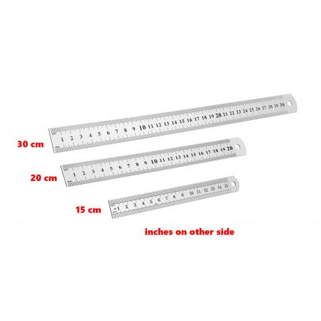 Metalen liniaal (30 cm, dubbelzijdig: cm en inches)