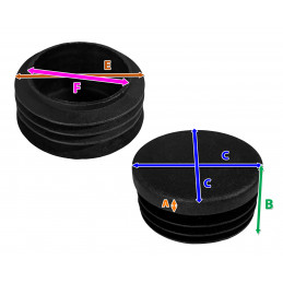 Set of 32 plastic chair leg caps (inside, round, 40 mm, black) [I-RO-40-B]  - 2