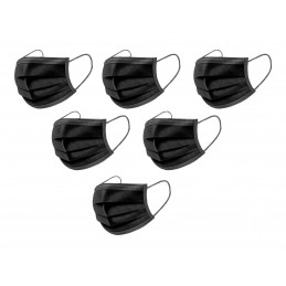 Set von 50 einfachen Mundmasken (schwarz)  - 1