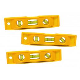 Conjunto de 3 pequenos níveis de bolha de plástico com ímã (amarelo)  - 1