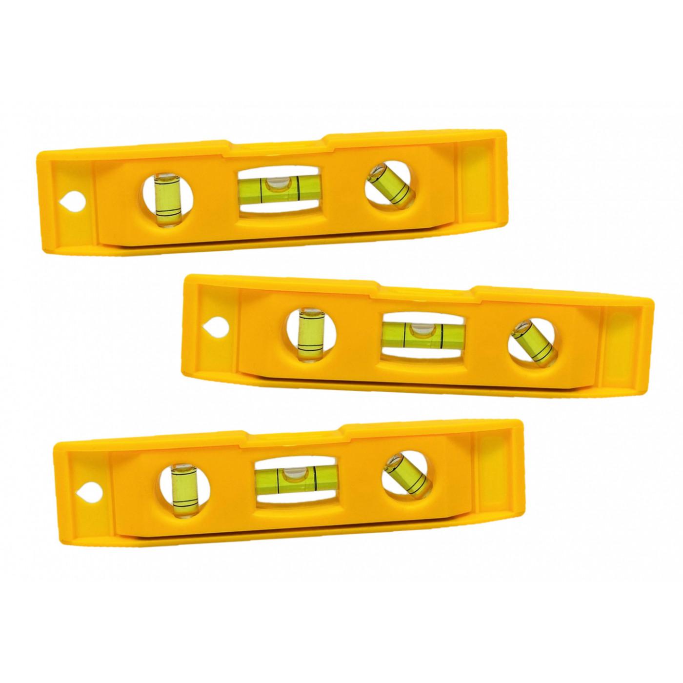 Set van 3 kleine plastic waterpassen met magneet (geel)