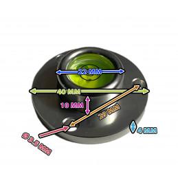 Niveau à bulle rond avec boîtier en aluminium (40x22x14 mm, argent)  - 2