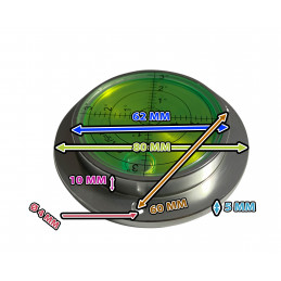 Grote ronde waterpas in aluminium behuizing (80x62x15 mm, zilver)  - 3