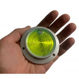 Grote ronde waterpas in aluminium behuizing (80x62x15 mm, zilver)  - 2