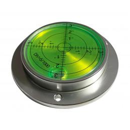 Duża okrągła poziomnica w aluminiowej obudowie (80x62x15 mm, srebrna)  - 1