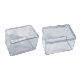 Set of 32 silicone chair leg caps (outside, rectangle, 25x50 mm, transparent) [O-RA-25x50-T]  - 1