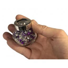Set of 4 glass bottles with decorative stones (purple, 1920 pcs)