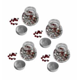 Set van 4 glazen flesjes met siersteentjes (rood, 1920 stuks)