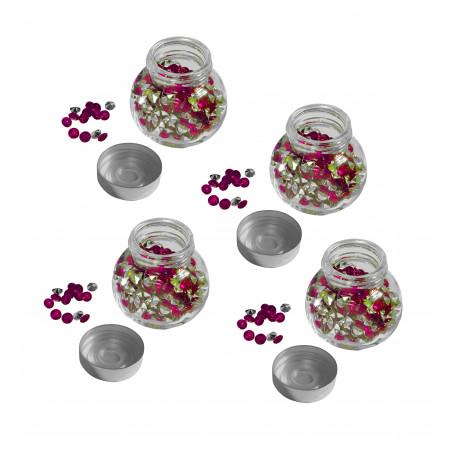Set van 4 glazen flesjes met siersteentjes (roze, 1920 stuks)