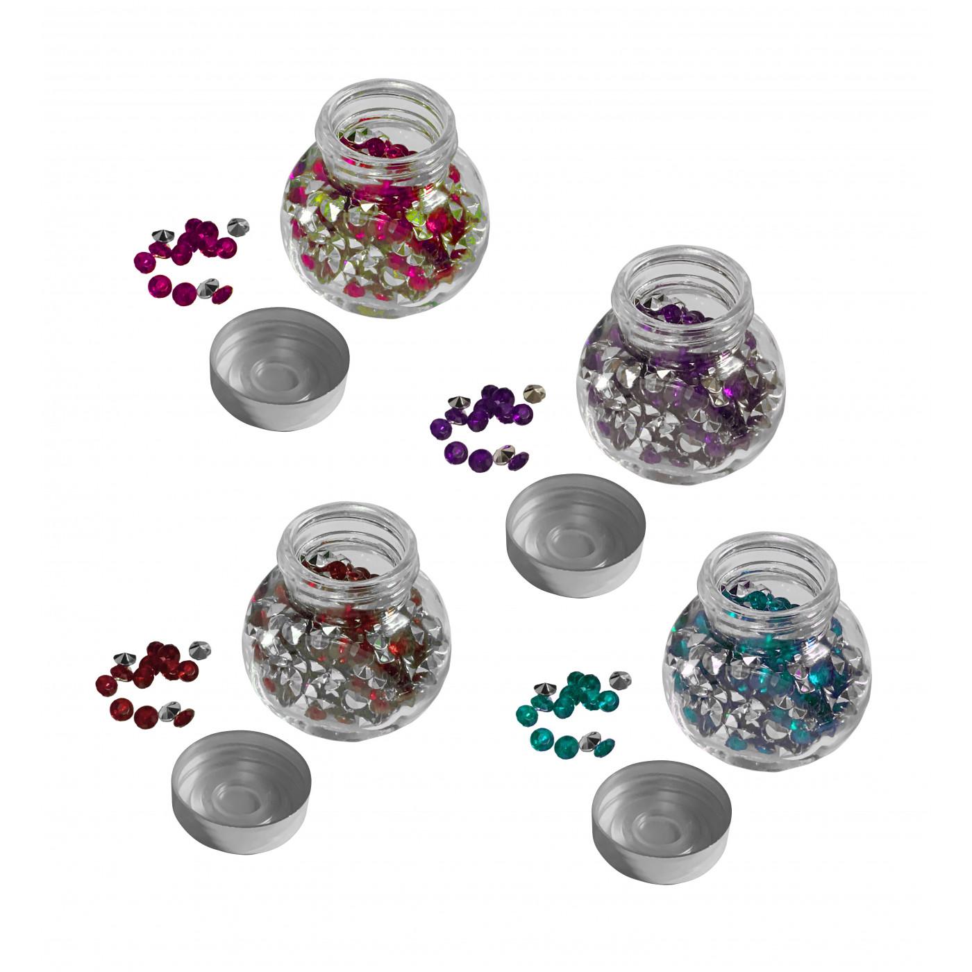 Set van 4 glazen flesjes met siersteentjes (gemixte kleuren