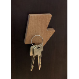 Set van 3 houten sleutelhouders (bliksemschicht, magnetisch