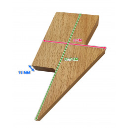 Set of 3 wooden key holders (lightning arrow, magnetic, beech wood)  - 3