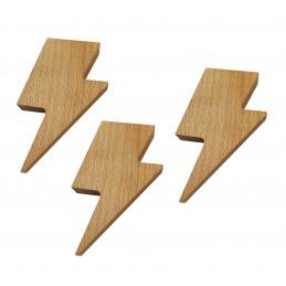 Set von 3 hölzernen Schlüsselhaltern (Blitz, Magnet, Buchenholz)