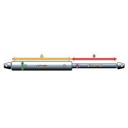 Vérin à gaz universel avec supports (20N / 2kg, 244 mm, noir)