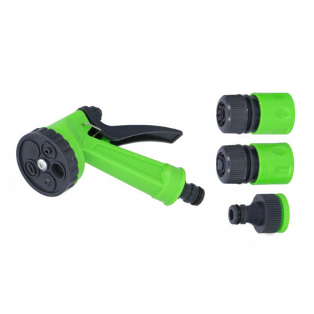 Spray head with connectors for the garden hose (4 parts)