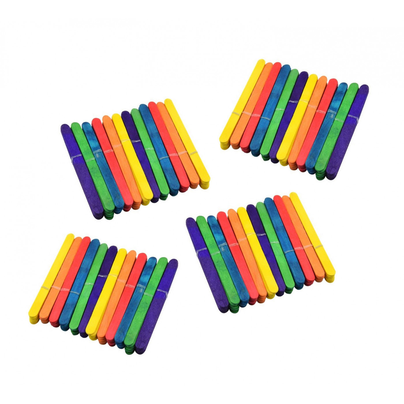 Set of 288 colored craft sticks (11 cm long, 1 cm wide)