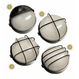 Set of 2 industrial outdoor lamps (type 1, black, E27, splash-proof, 19x18x10 cm)  - 3