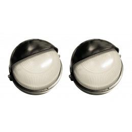 Set di 2 lampade da esterno industriali (tipo 1, nero, E27, a
