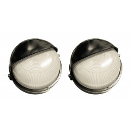 Set van 2 industriele buitenlampen (type 1, zwart, E27