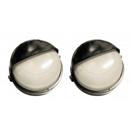 Set of 2 industrial outdoor lamps (type 1, black, E27, splash-proof, 19x18x10 cm)  - 1