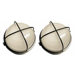 Lot de 2 lampes d'extérieur industrielles (type 2, noir, E27