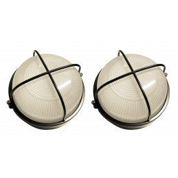 Set van 2 industriele buitenlampen (type 2, zwart, E27