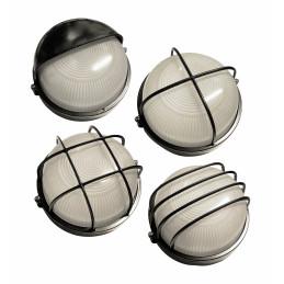 Set di 4 lampade da esterno industriali (nero, E27, a prova di