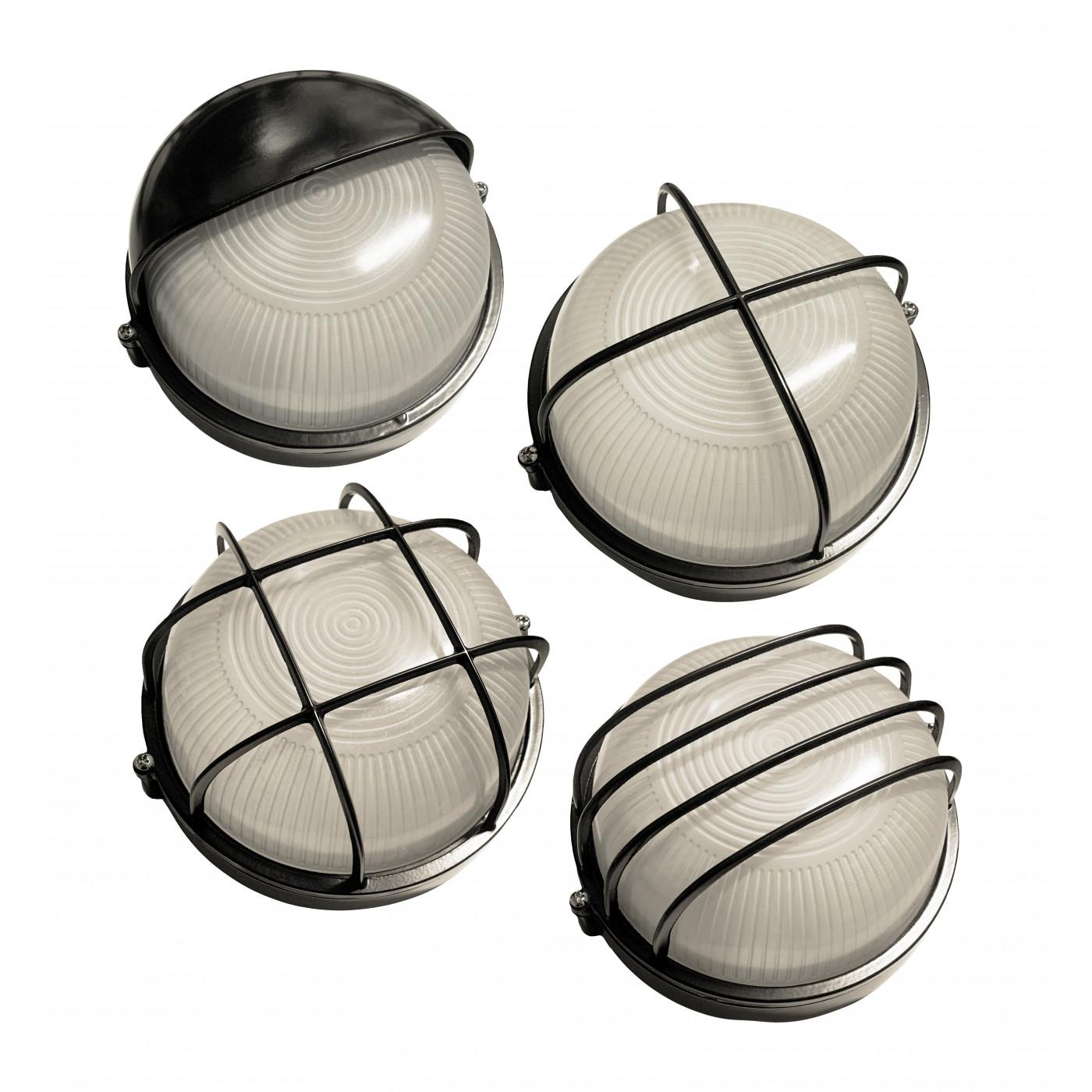 Lot de 4 lampes d'extérieur industrielles (noir, E27