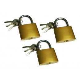 Set von 3 Vorhängeschlössern mit jeweils 3 Schlüsseln (38x33 mm)