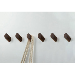 Set of 6 wooden clothes hooks, walnut wood