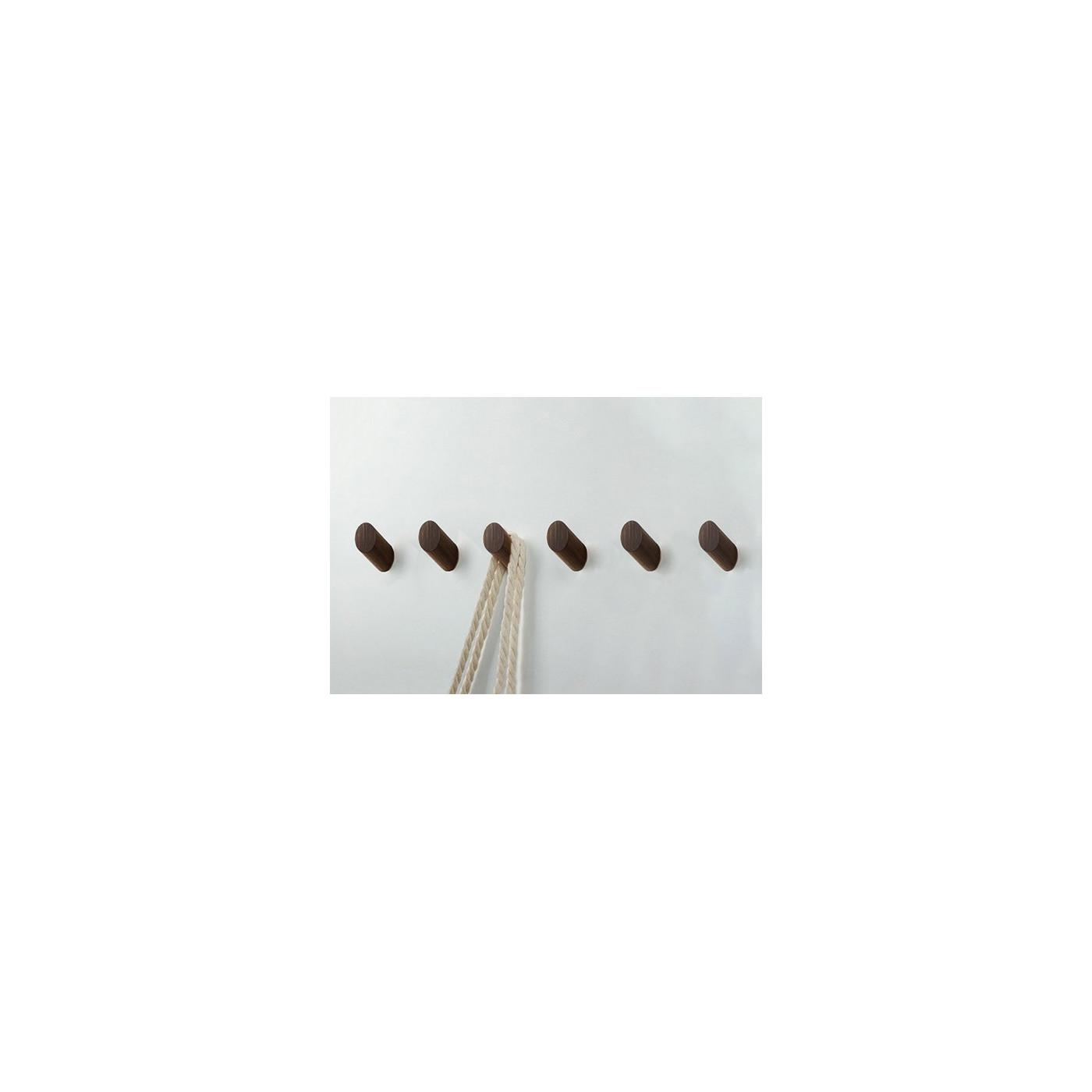 Set of 6 wooden clothes hooks, walnut wood