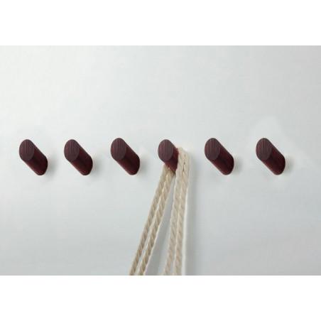 Set van 6 houten kledinghaken (kapstok), mahonie