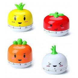 Set of 4 cheerful cooking timers (pineapple, tomato, carrot &