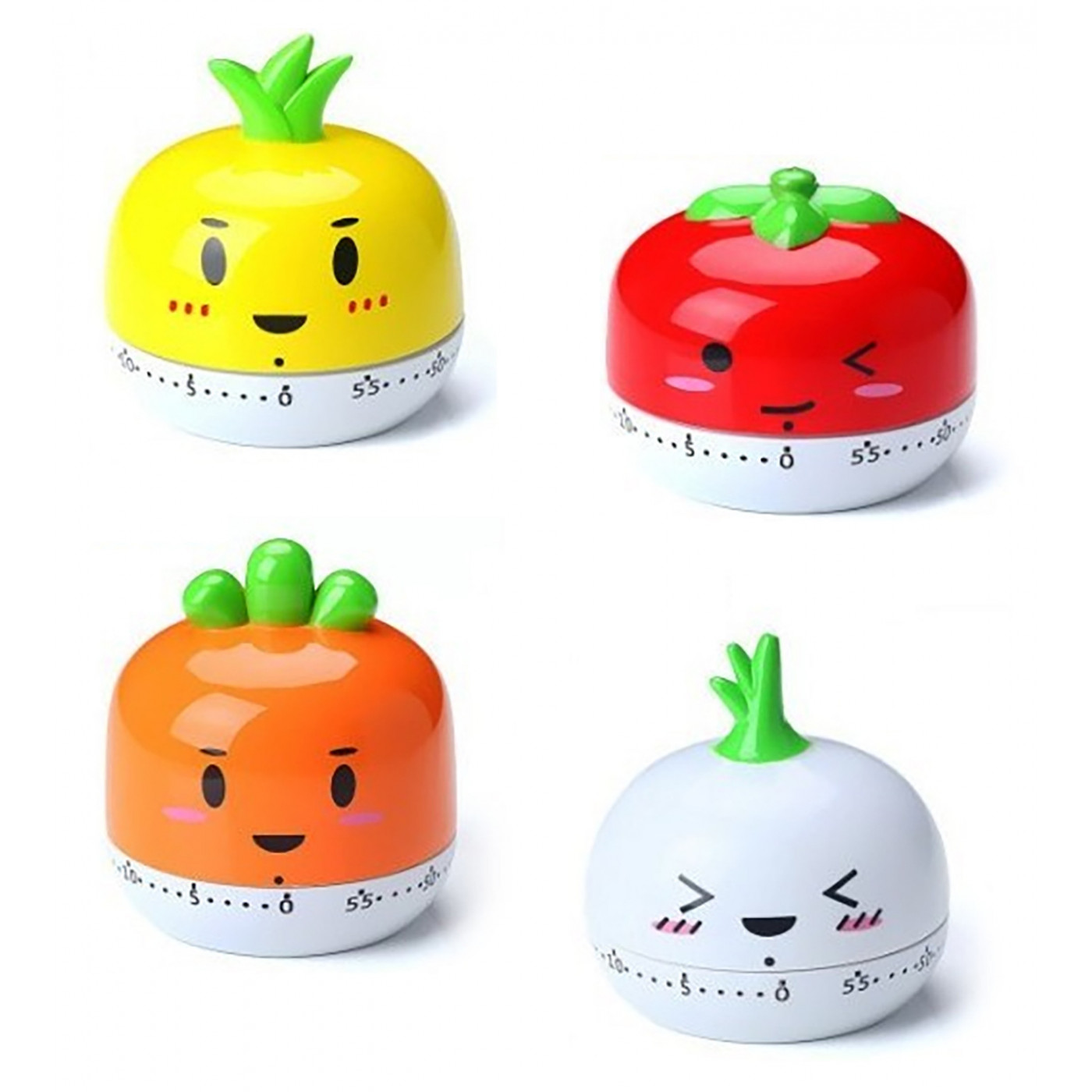 Set of 4 cheerful cooking timers (pineapple, tomato, carrot & garlic)  - 1