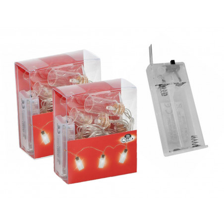Set of 2 LED light chains with decorative bottles (on 4xAA