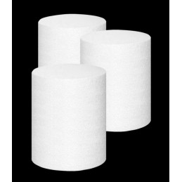 Set of 20 styrofoam shapes (cylinder, 5x7 cm)