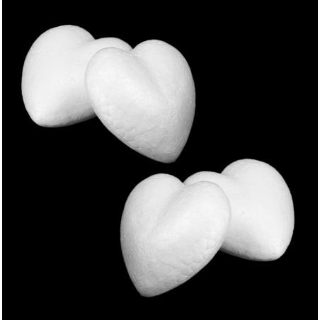 Set of 20 styrofoam shapes (heart, 4.5x4.5x2 cm)