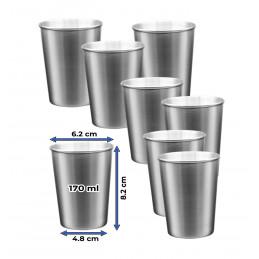 Lot de 8 tasses en acier inoxydable (170 ml)  - 2