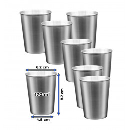 Set of 8 stainless steel cups (170 ml)