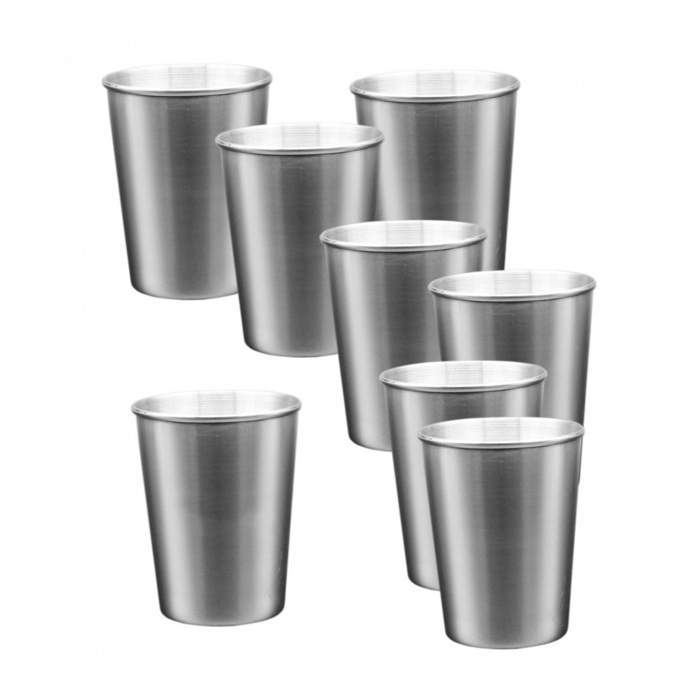 Set van 8 roestvrijstalen (RVS) bekers (170 ml)  - 1