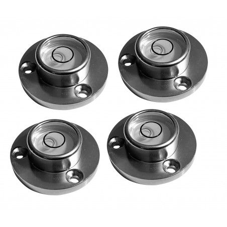 Set of 4 round bubble levels with aluminum case (34x20x12 mm