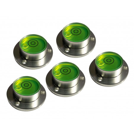 Set of 5 round bubble levels with aluminum case (30x20x11 mm