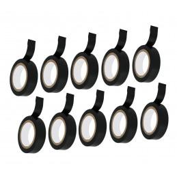 Set van 10 rollen isolatietape (zwart, totaal 1,8 cm x 100