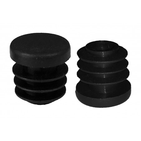 Set of 32 plastic chair leg caps (inside, round, 14 mm, black)