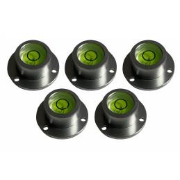 Lot de 5 niveaux à bulle ronds avec boîtier en aluminium